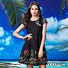 【YIDIE衣蝶】花朵刺繡鏤空鑲邊短洋裝