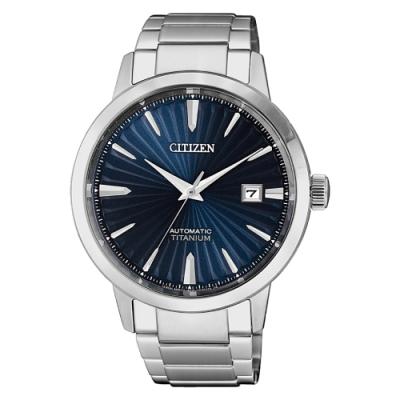 CITIZEN  GENT S鈦金屬魅力四射機械腕錶-銀X藍(NJ2180-89L)