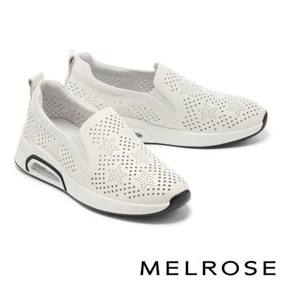 休閒鞋 MELROSE 極簡率性星星沖孔全真皮厚底休閒鞋-白