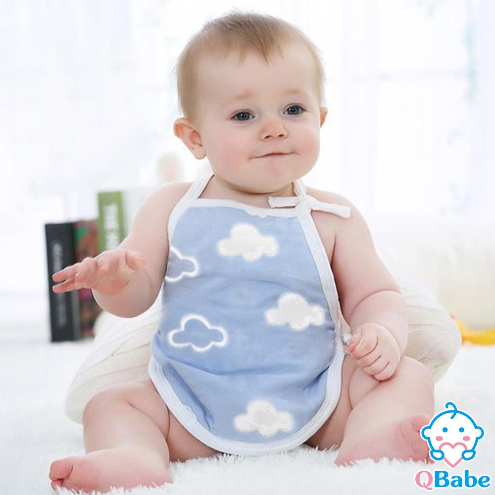QBabe 全棉六層紗 寶寶防著涼肚兜-藍色雲朵