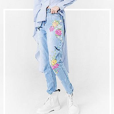 花鳥刺繡仿舊高腰牛仔長褲-(藍色)Andstyle