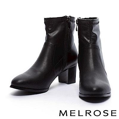 短靴 MELROSE 簡約車縫線設計彈力皮革粗高跟短靴-黑