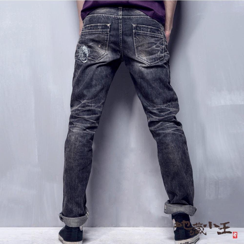 地藏小王 BLUE WAY 刷破迷彩火焰低腰直筒褲(灰黑)