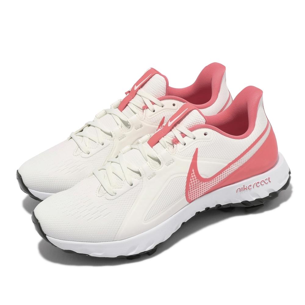 Nike 高爾夫球鞋 React Infinity 男鞋 輕量 避震 包覆 運動 寬楦 抓地力 白 粉 CT6621104