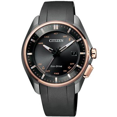星辰CITIZEN 外務紳士藍芽光動能鈦金屬男錶(BZ4006-01E)-黑X玫瑰金