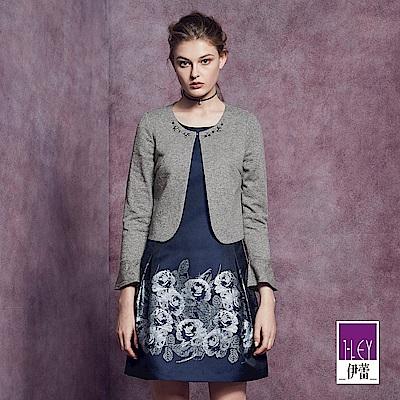 ILEY伊蕾 輕奢鑲蔥縫飾短版外套(灰)