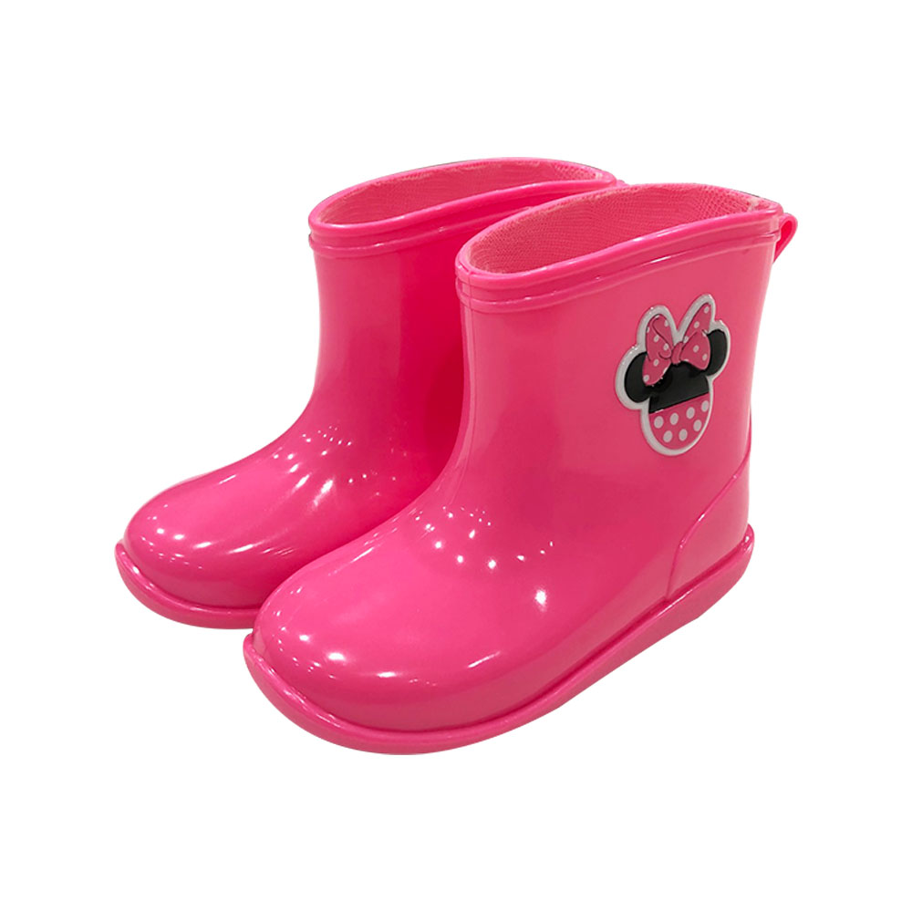 迪士尼童鞋 米妮 點點造型短筒雨鞋-粉