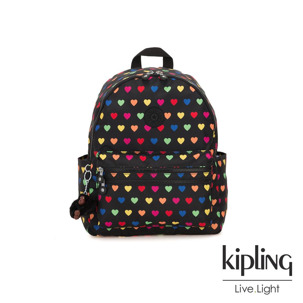 Kipling 繽紛愛心拉鍊後背包-BOUREE