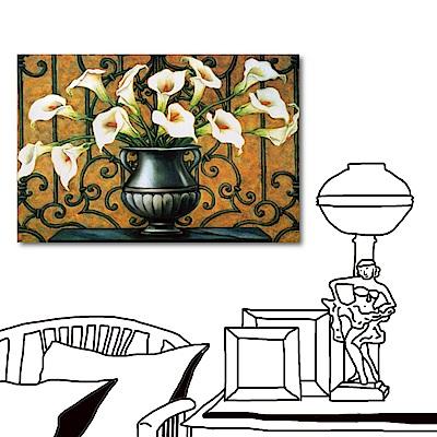 橙品油畫布-單聯式橫幅 海芋花無框畫-海芋戀-60x40cm