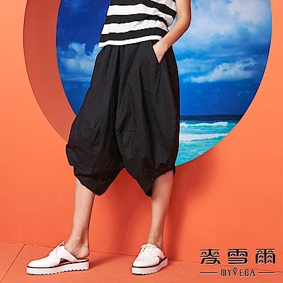 【麥雪爾】素面棉麻造型寬褲