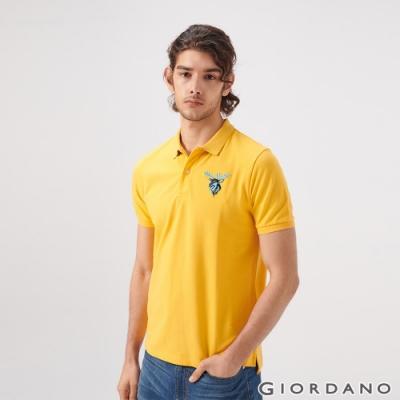 GIORDANO 男裝麋鹿漸層刺繡短袖POLO衫-06 水仙花黃