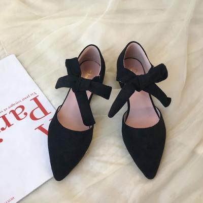 KEITH-WILL時尚鞋館 璀璨年代花朵綁帶低跟鞋-黑