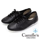 Camille's 韓國空運-全真皮復古綁帶小白鞋-黑色