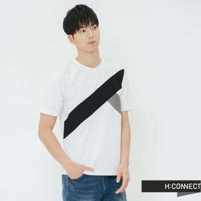 H:CONNECT 韓國品牌 男裝-幾何畫破圖像上衣-白