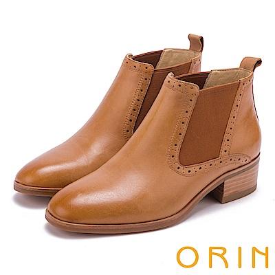 ORIN 經典復古 素面彈力鬆緊牛皮低粗跟短靴-棕色
