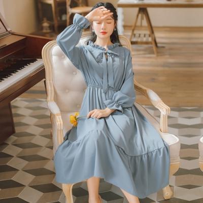 花邊領蝴蝶結喇叭袖純色大裙襬洋裝S-L(共五色)-Dorri