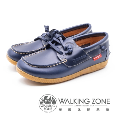 WALKING ZONE 時尚經典休閒帆船鞋 雷根鞋 女鞋- 藍(另有咖)