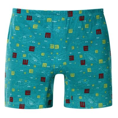 DADADO-好視力 M-3L 印花四角男內褲(藍綠)
