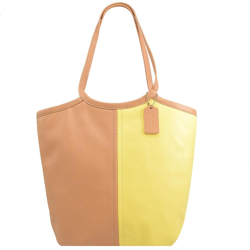 COACH 牛皮素面拉鍊肩背托特包(粉橘/咖)