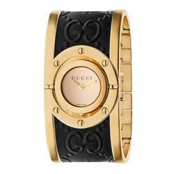GUCCI 古馳 Twirl 雙G LOGO壓紋翻轉手環錶(YA112444)x黑x金33