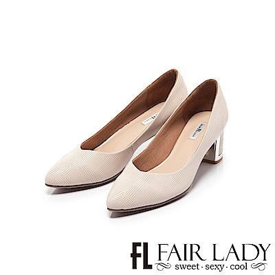 Fair Lady 優雅小姐Miss Elegant 格紋尖頭粗跟鞋 粉