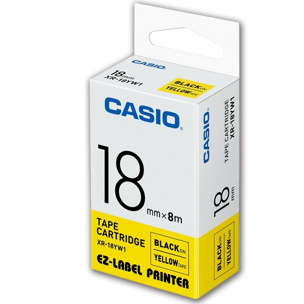 CASIO 標籤機專用色帶-18mm【共有9色】黃底黑字XR-18YW1