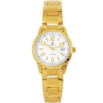 SIGMA簡約藍寶石鏡面時尚手錶-白X金/26mm