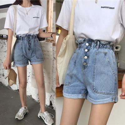【韓國K.W.】追加款原宿風寬鬆顯瘦牛仔短褲