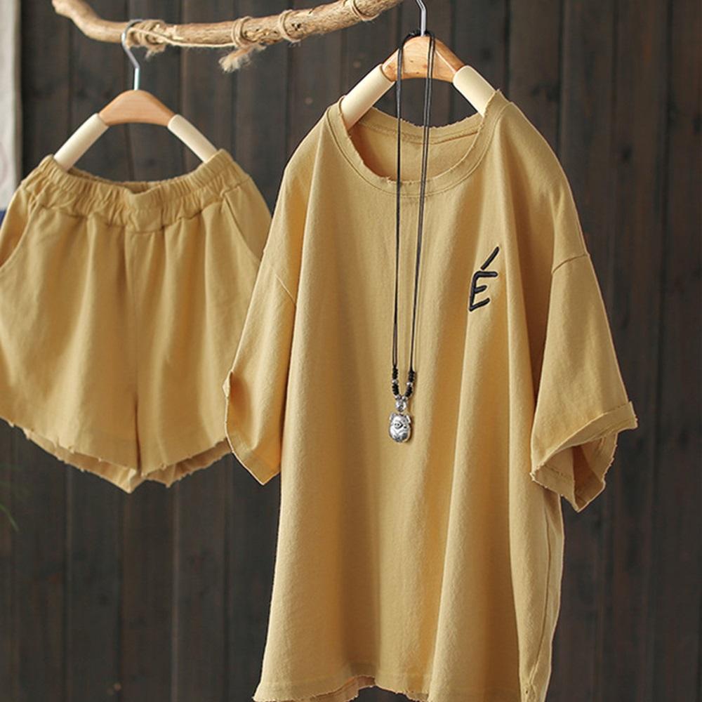 春溪/印花亞麻套裝五分袖t恤休閒七分褲-設計所在