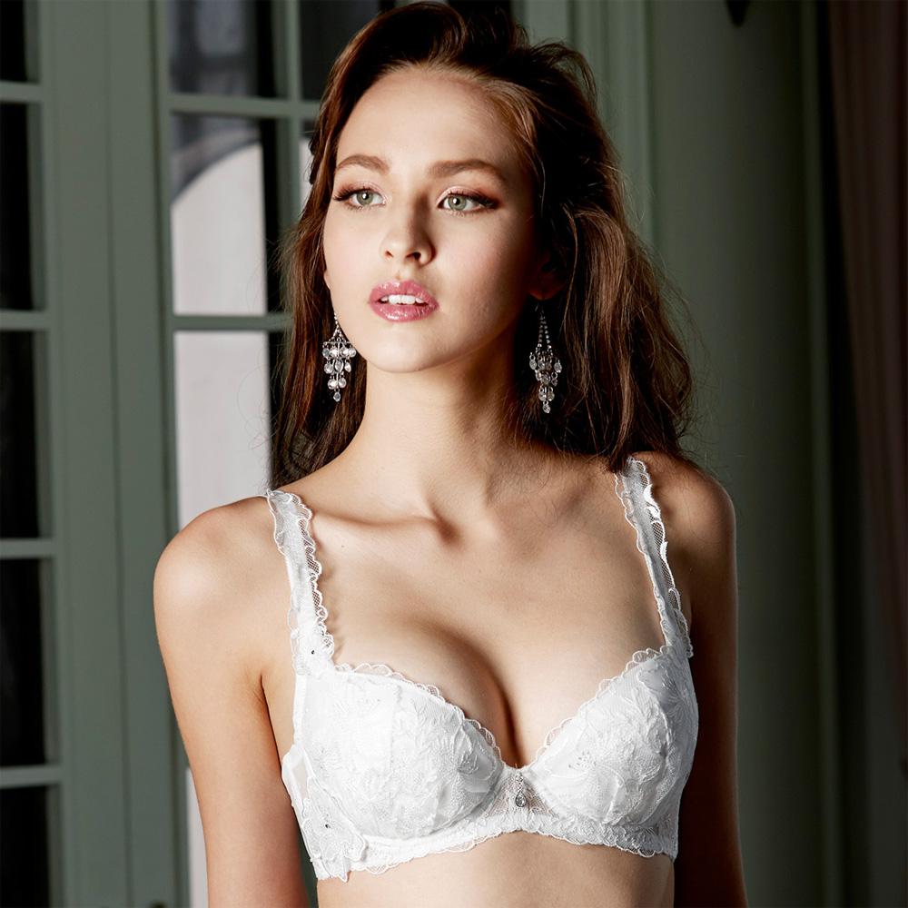 莎露-玻璃鞋系列B-C 罩杯內衣(白)奢華蕾絲-深V包覆-集中美胸