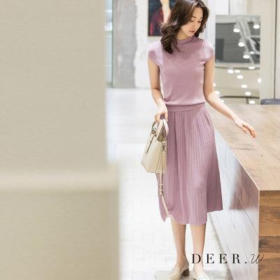 DEER.W 半袖百褶裙金絲針織套裝(三色)