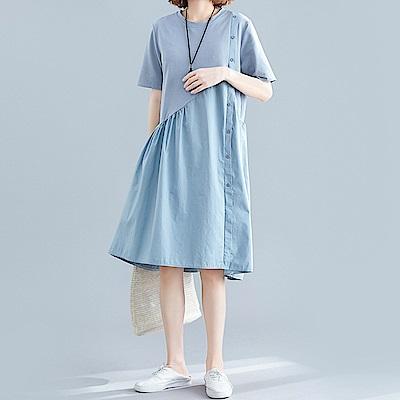 初色  拼接側扣造型洋裝-藍色-(XL/2XL可選)