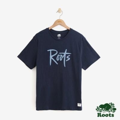 男裝Roots-原創短袖T恤-藍