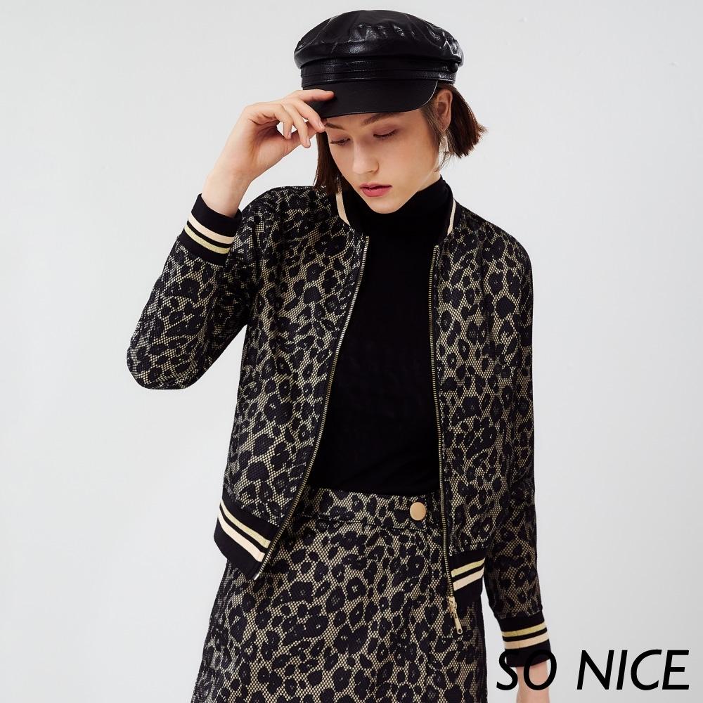 SO NICE時尚網布豹紋棒球外套