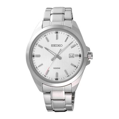 SEIKO風格時尚條紋腕錶-銀X白(SUR273P1)-42mm