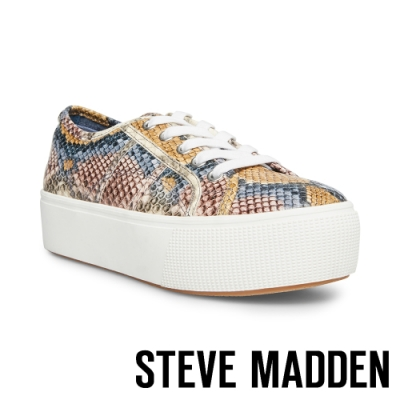 STEVE MADDEN-EMMI個性街頭厚底綁帶休閒鞋-特殊紋白色