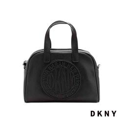 DKNY LOGO壓紋時尚斜背手提包 黑