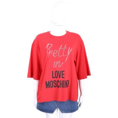 LOVE MOSCHINO 水鑽字母紅色落肩短袖TEE T恤