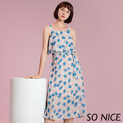 SO NICE浪漫撞色印花雪紡洋裝