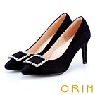ORIN 時尚名媛 方型鑽飾優雅羊絨高跟鞋-黑色