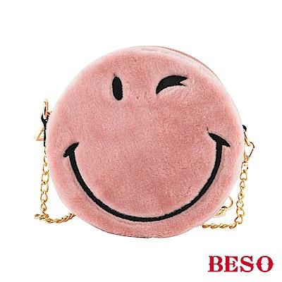 BESO 歡愉時光 圓形刺繡笑臉包~粉