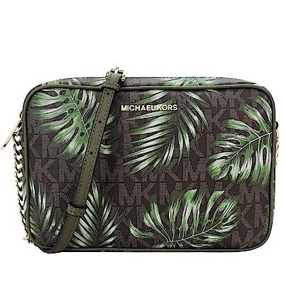 MICHAEL KORS JET SET 滿版棕櫚葉造型斜背包(大/咖X綠)