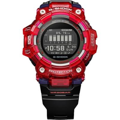 CASIO 卡西歐 G-SHOCK 多功能運動藍芽電子錶-紅 GBD-100SM-4A1
