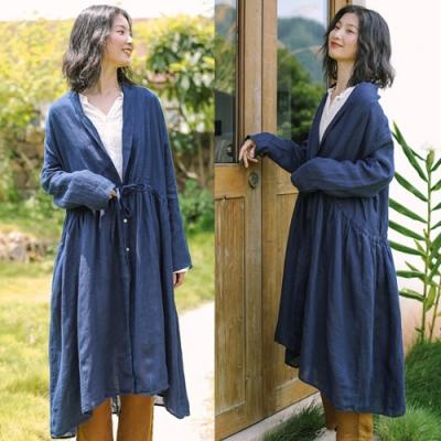 外套-純亞麻風衣休閒中長版大衣薄麻-設計所在