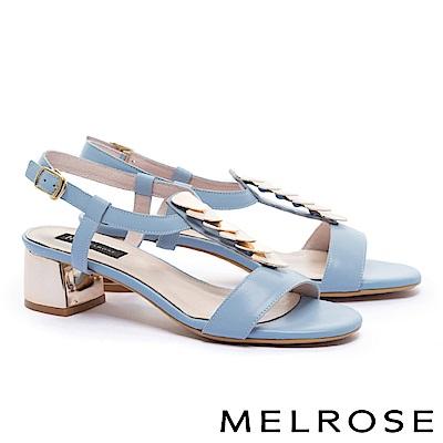 涼鞋 MELROSE 時尚清新雙色幾何飾片修面牛皮粗高跟涼鞋-藍
