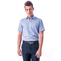 金‧安德森 藍色變化領窄版短袖襯衫