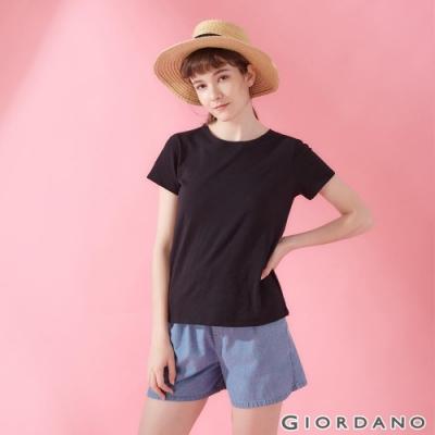 GIORDANO 女裝圓領竹節棉寬版T恤-19 標誌黑