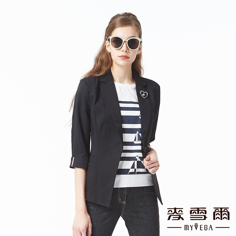 麥雪爾 棉質翻領率性鑽飾墊肩西裝外套-黑