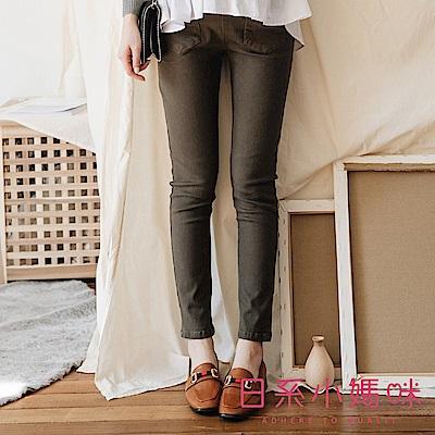 日系小媽咪孕婦裝-孕婦褲~口袋打折造型微磨毛窄管褲 M-XXL (共二色)