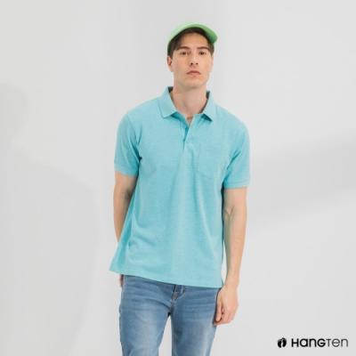 Hang Ten-男裝-口袋短袖POLO衫-藍綠色